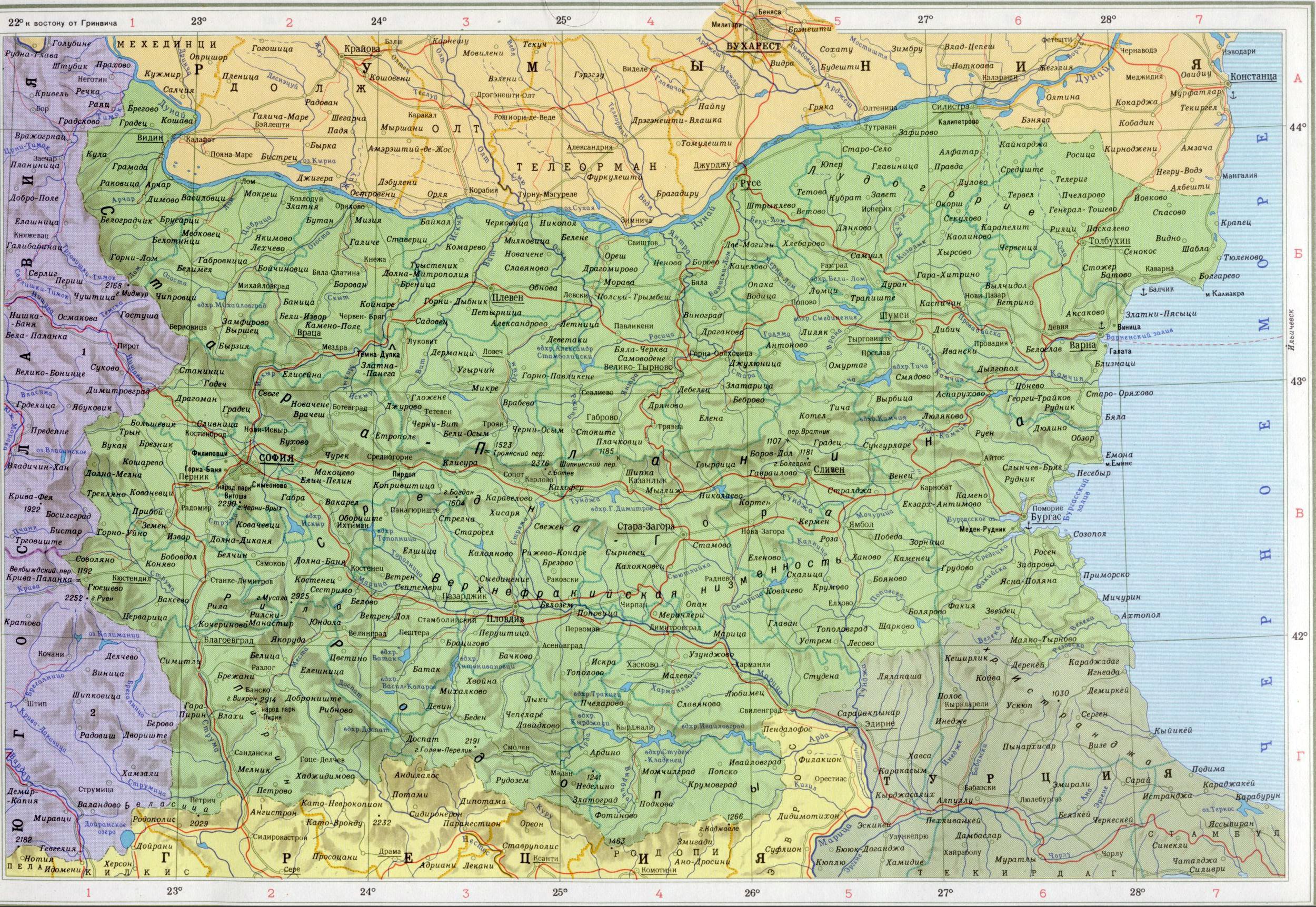 Карта болгарии подробная карта