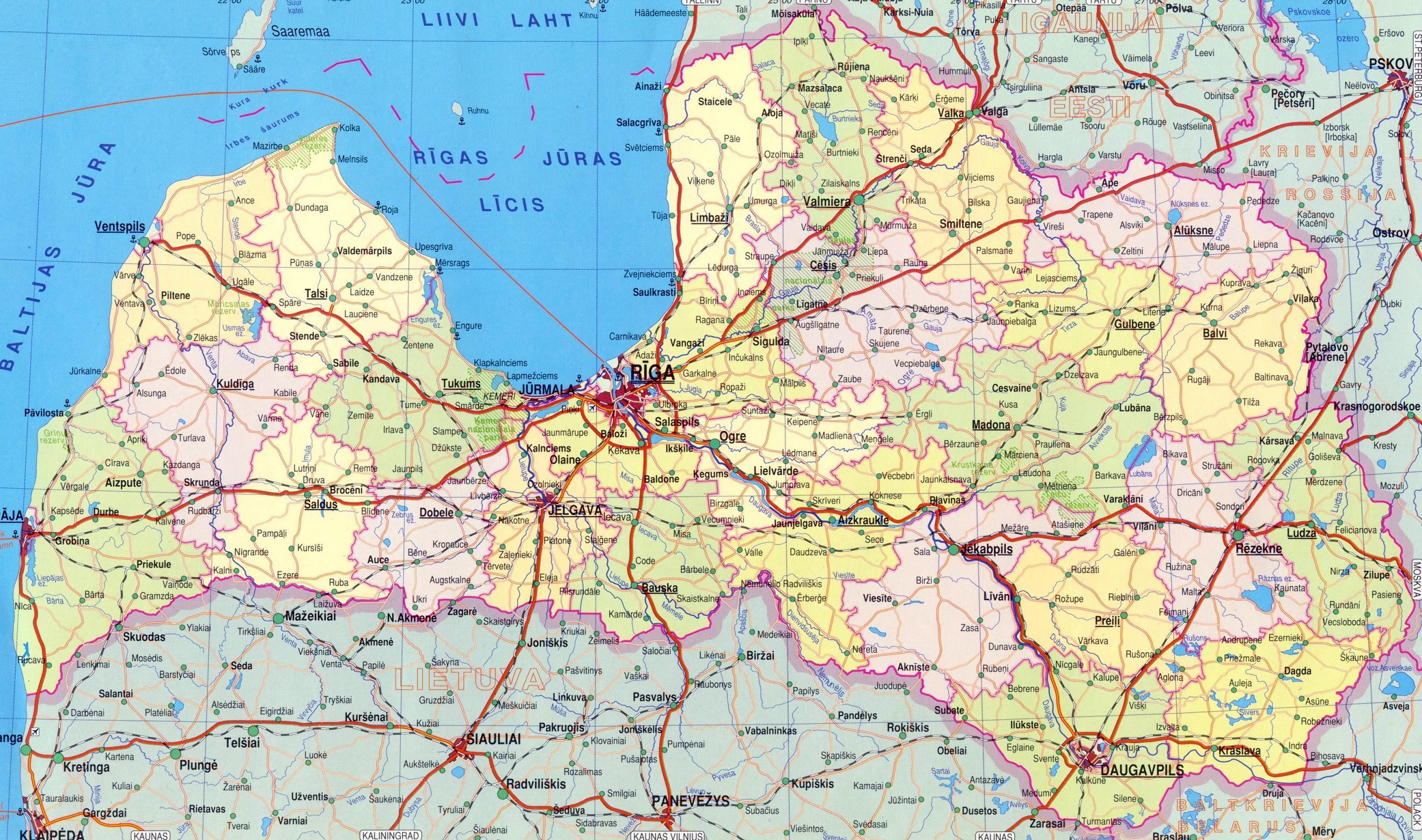 Административная карта латвии на