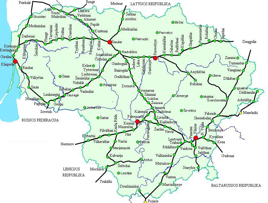 Подробная карта-схема основных