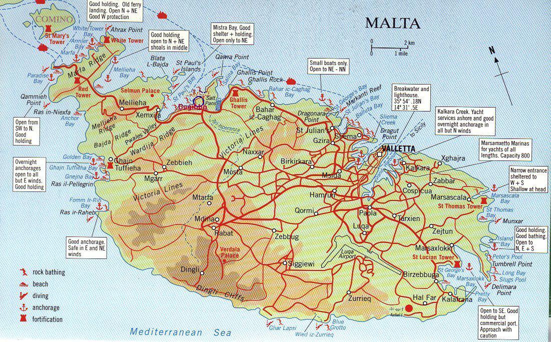 Карта Мальты. Подробная карта