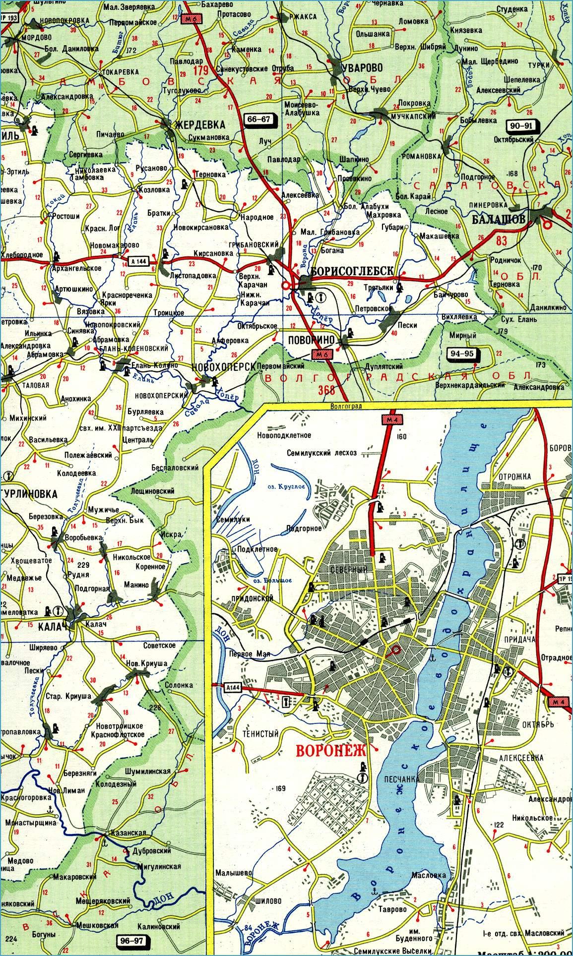 Воронежская область. Карта автомобильных дорог. Новый ...