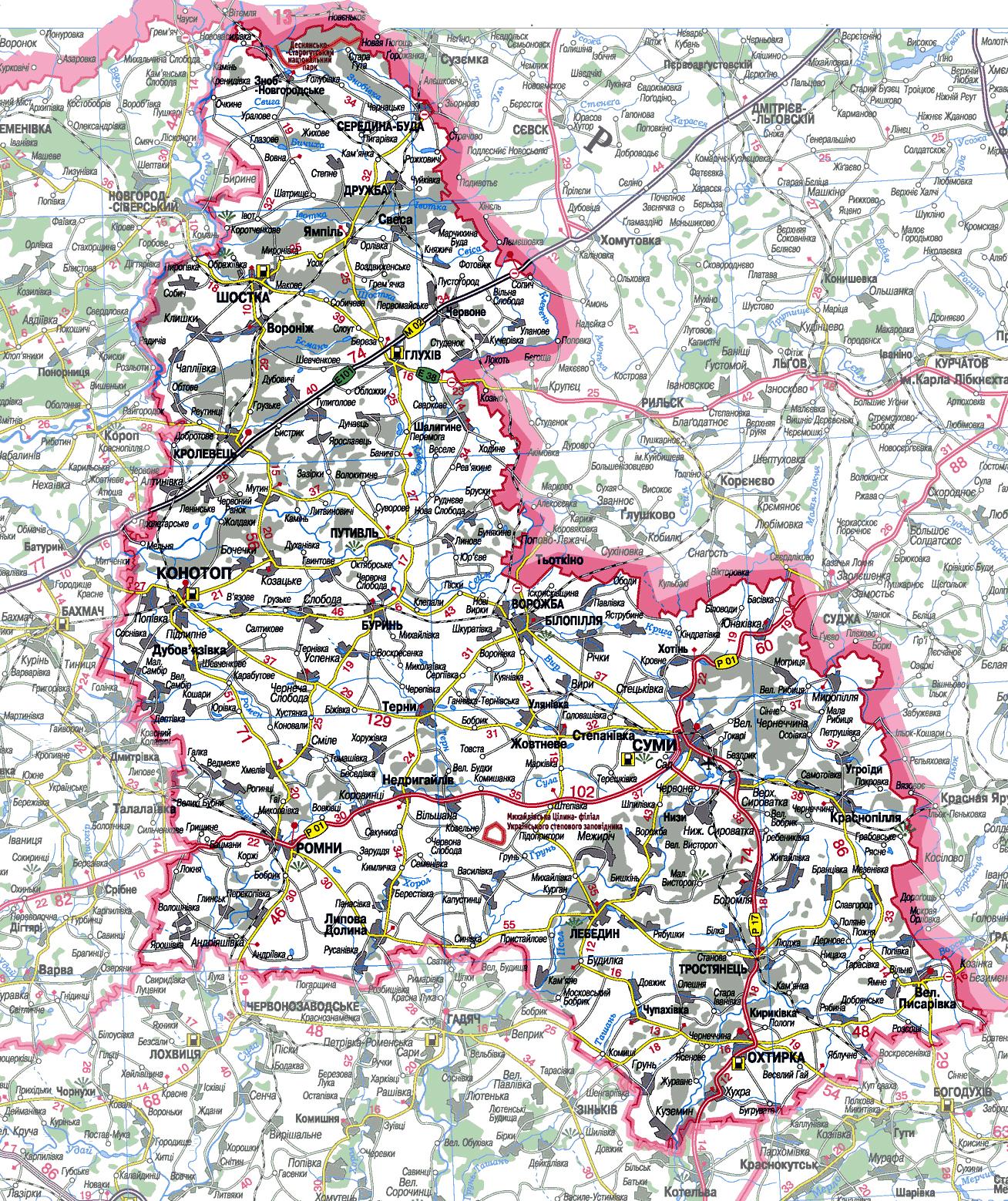 Карта автодорог.  Границы Сумской области.  Все населенные пункты.