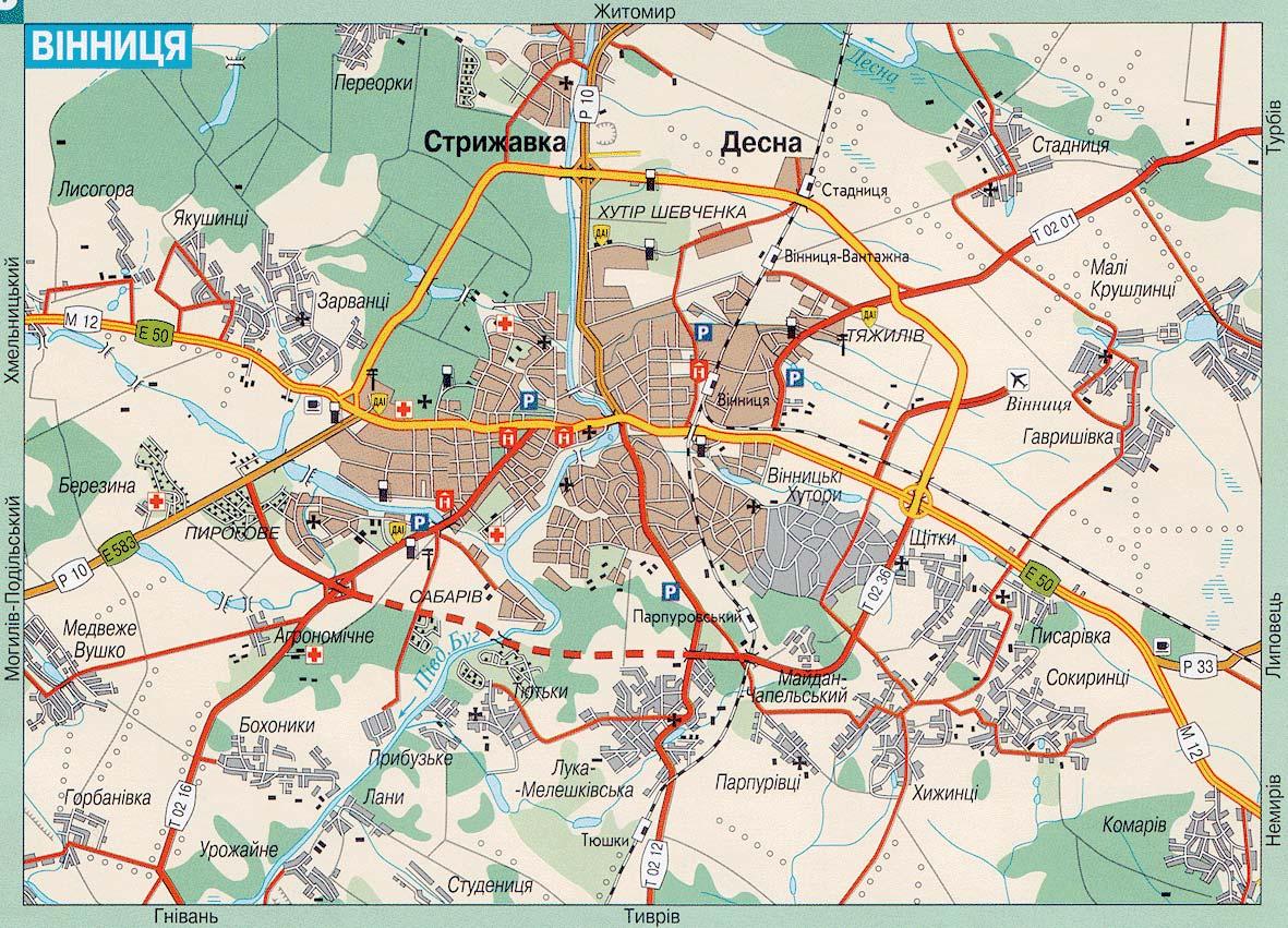 Винница. Карта Винницы. Карта автомобильных дорог Винницы ...: http://gps-info.com.ua/?p=30742