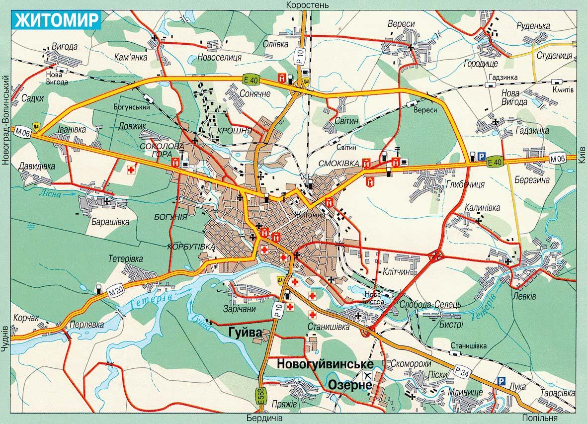 Житомир. Карта Житомира. Карта автомобильных дорог ...: http://gps-info.com.ua/?p=30758