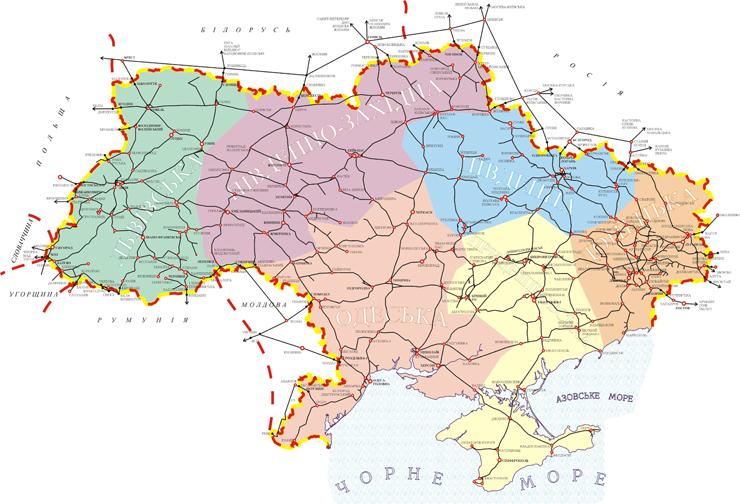 Карта железных дорог Украины.
