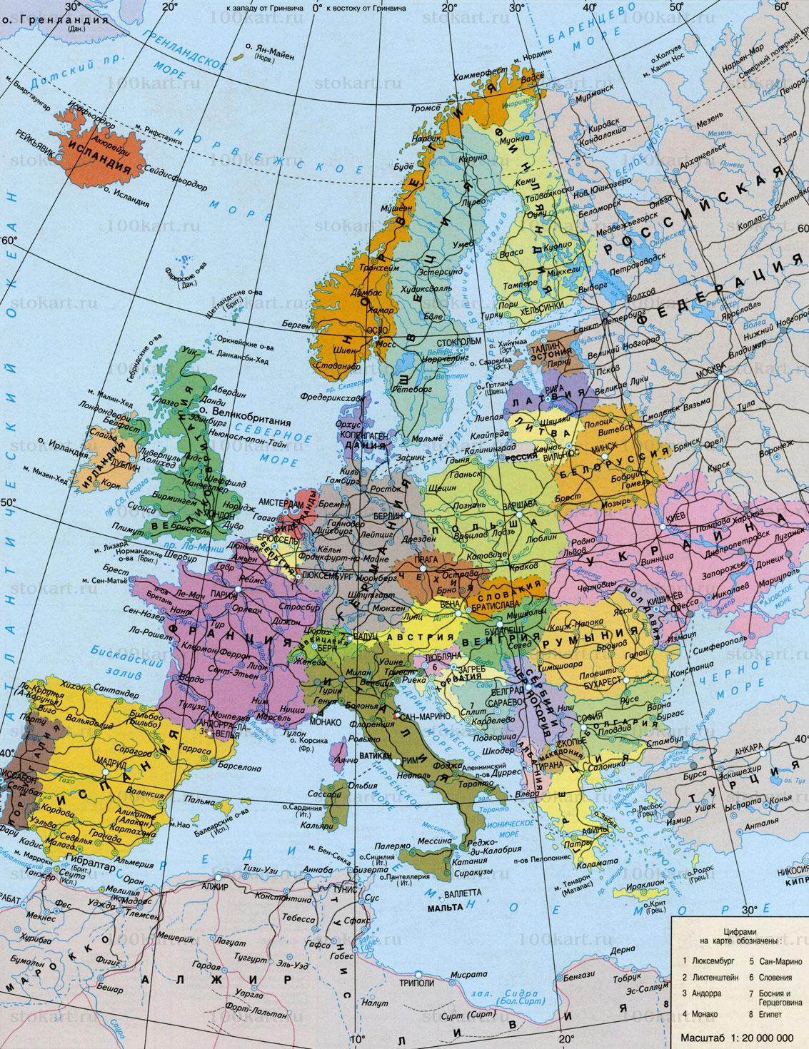 Политическая карта европы все страны