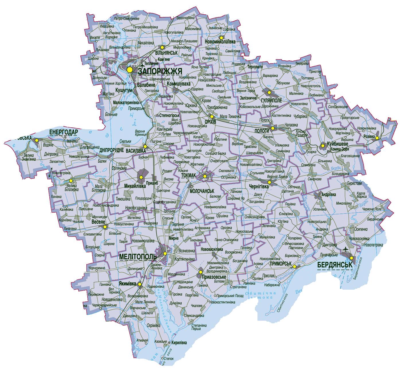 Подробная Карта Запорожской Области Скачать