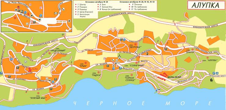 Алупкинское шоссе, карта